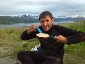 Yummy food while enjoying landscape.