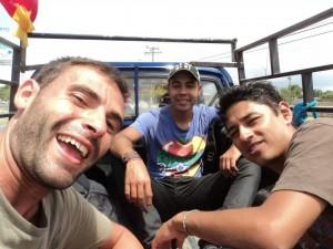 3 guys hitchhiking.