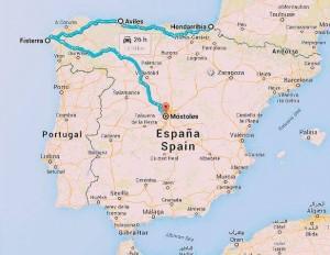 The route cycling Camino de Santiago.
