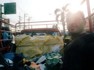 Hitchhiking, backpacking Cambodia.