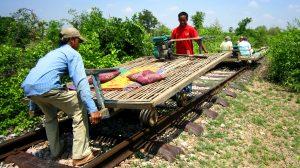 Bamboo Train, backpacking Cambodia.