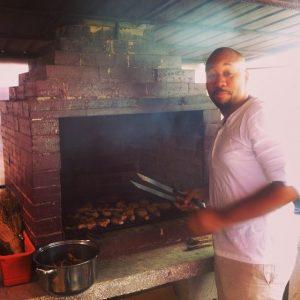 Erick cooking.