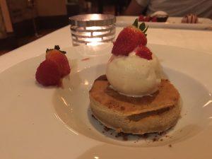 Strawberries with vanilla ice-cream