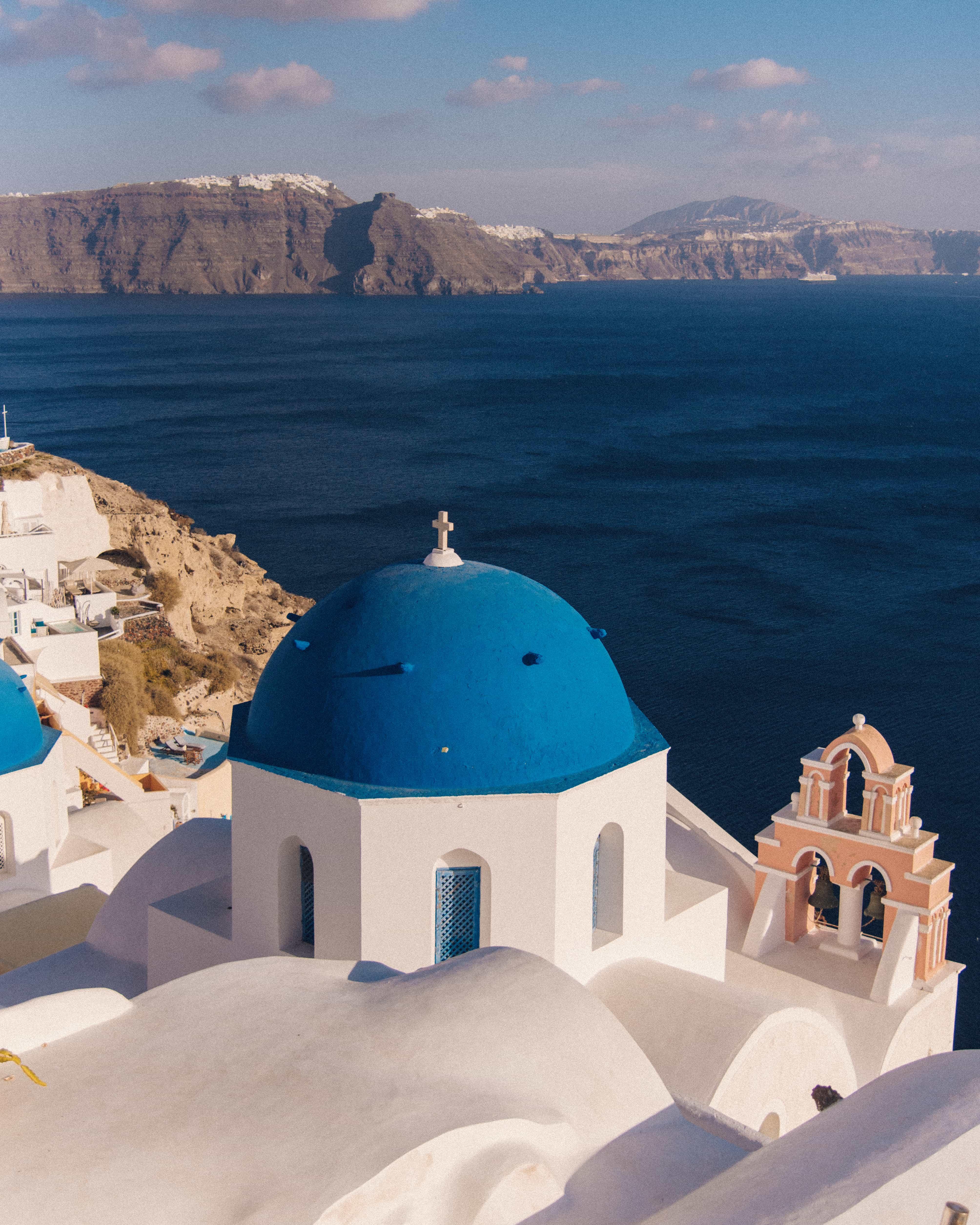 Blue domes in Santorini, Instagramamble places in Santorini