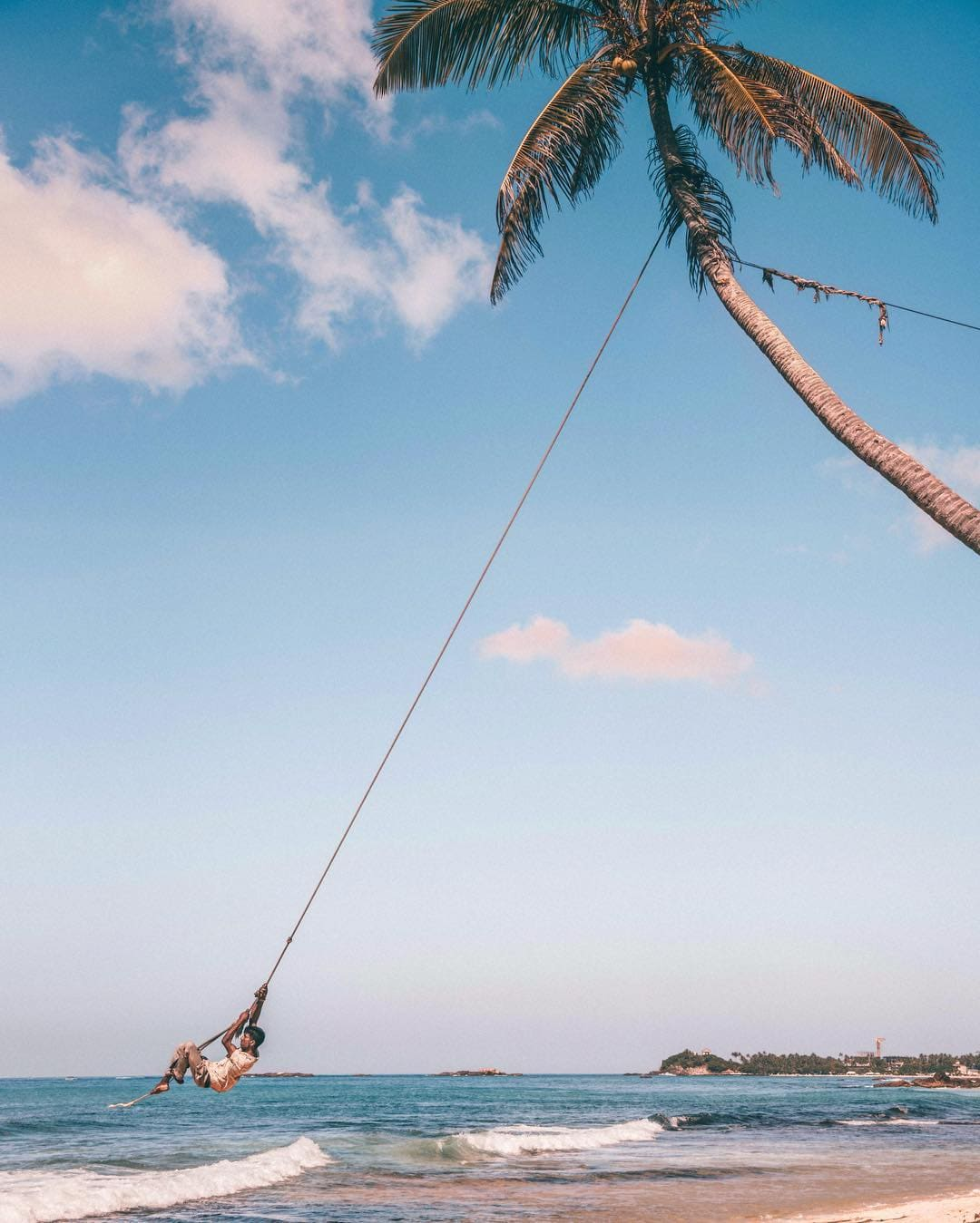instagrammable places in Sri Lanka, palm tree in Dalawella beach