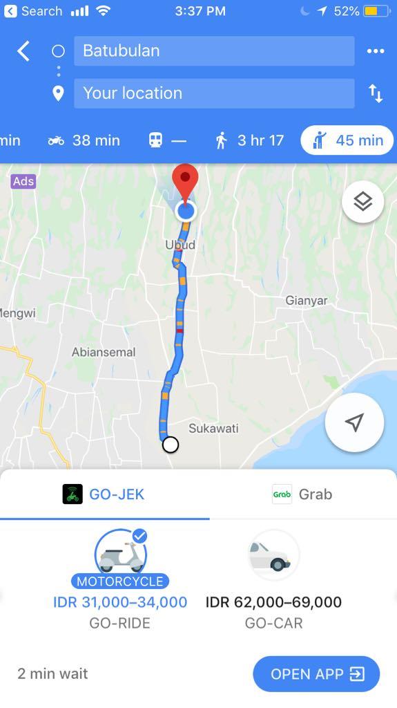 How to get to Ubud by Grab or Go Jek, ubud to airport,  bali airport ubud, denpasar to ubud