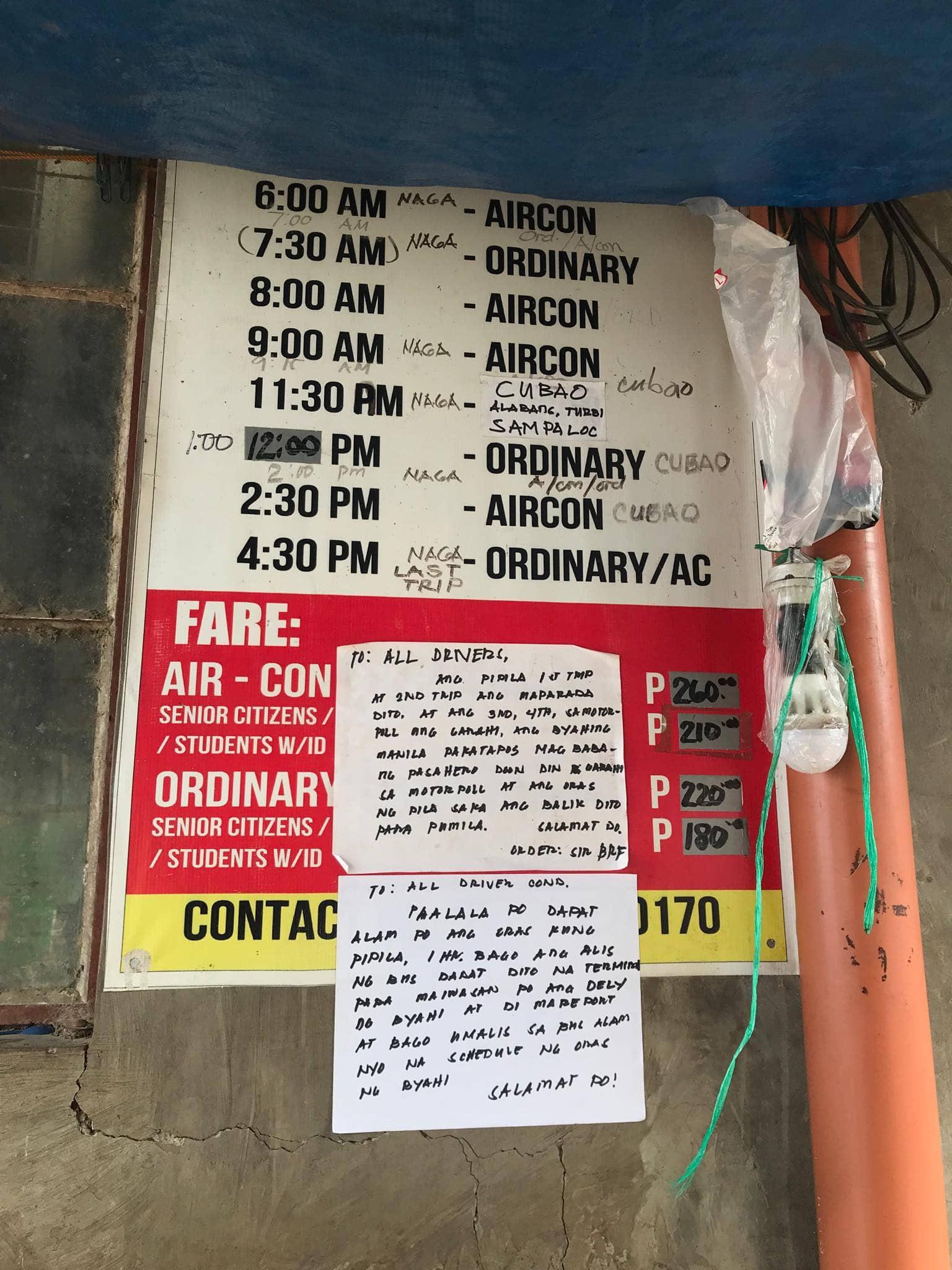 Caramoan to Naga schedule buses, Naga to Caramoan, Caramoan to Manila schedule buses