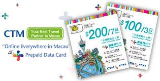 Macau, Macau tourist sim card, macau sim card, sim card in macau, macau prepaid sim card, CTM Macau,