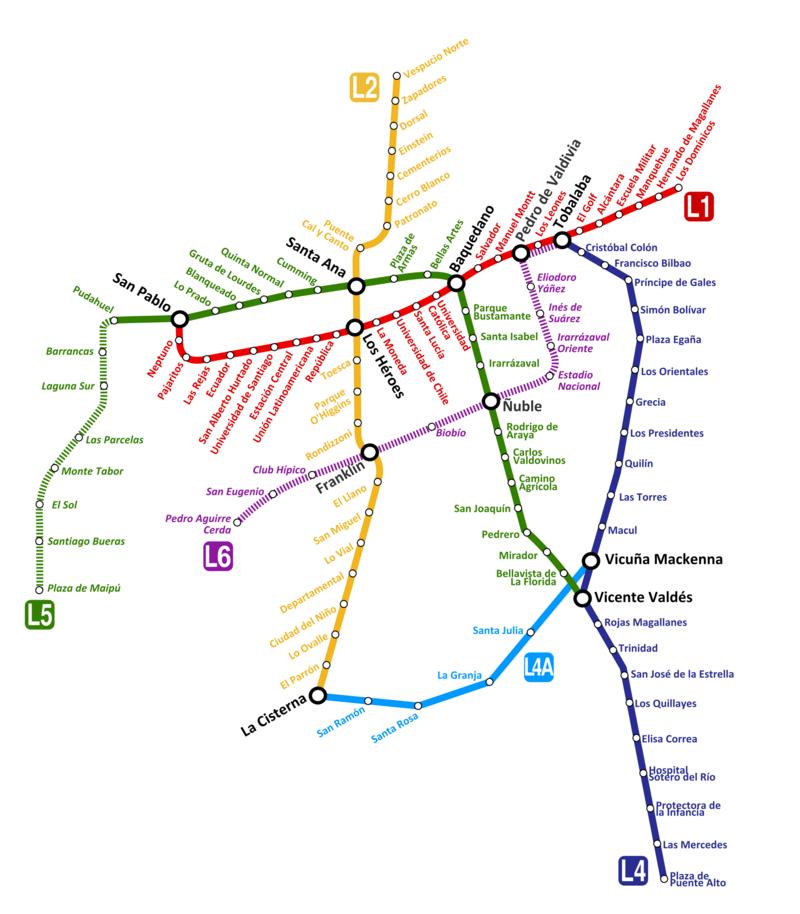 Metro Map Santiago Chile,