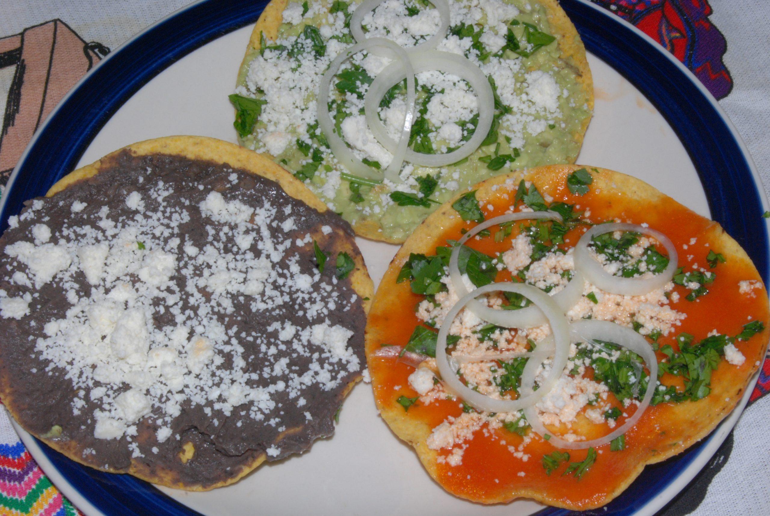 vegetarian food in Guatemala, vegan food in guatemala, vegetarian dishes in Guatemala,  Guatemalan vegetarian dishes, Tostadas Food in Guatemala