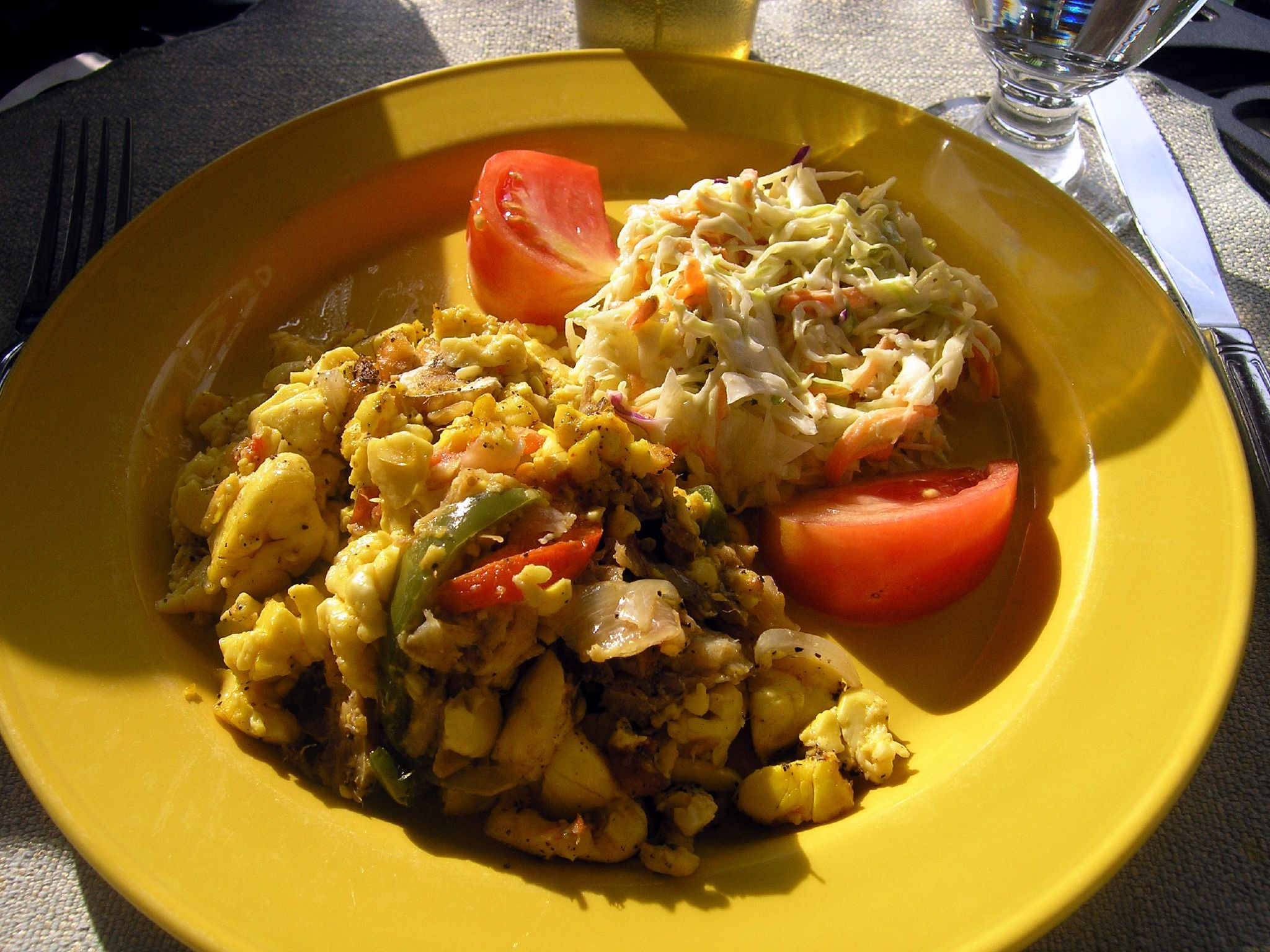 Ackee and codfish / Ackee and Saltfish, food in Jamaica, jamaican food, jamaican cuisine, jamaican dishes, jamaican drinks, jamaican appetizers, jamaican traditional food