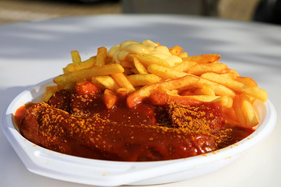 German Food, German cuisine, Traditional German Food, food in Germany, German dishes, currywurst
